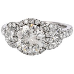 Dover GIA 1.72 Carat Round Diamond 18 Karat Gold 3-Stone Halo Engagement Ring
