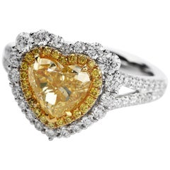 Dover GIA 2.16 Carat Fancy Yellow Heart Diamond 18 Karat Gold Engagement Ring