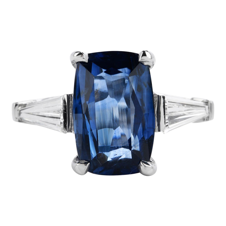 GIA 6.15cts t Natural Ceylon No Heat Sapphire and Diamond Platinum Ring