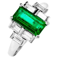 Dover GIA Fine Colombian Emerald Diamond Baguette Platinum Ring