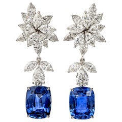 17.32 Carat Diamond Natural Ceylon Sapphire Gold Drop Earrings