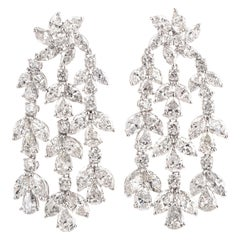 30.00 Carat Diamond Platinum Floral Chandelier Dangle Earrings