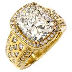 Dover Jewelry 8.98 Carat Diamond 18 Karat Yellow Gold Brilliant Cushion Ring