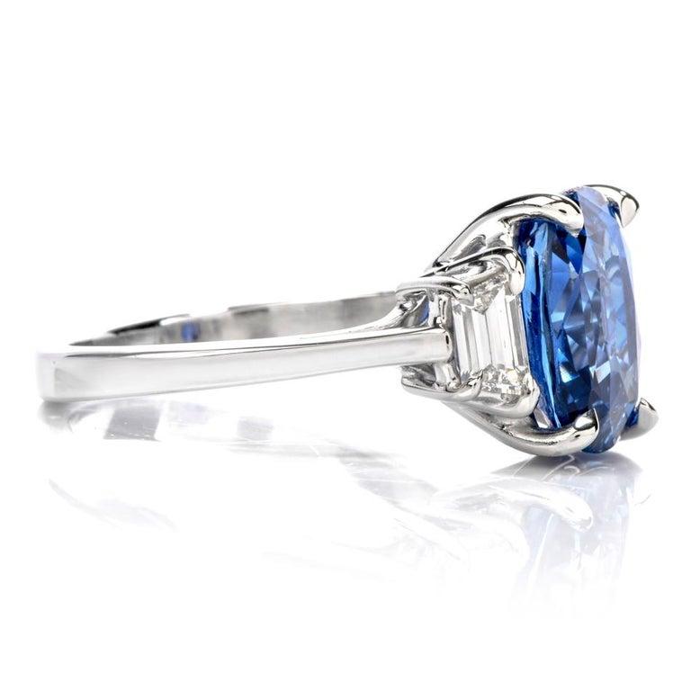 Art Deco Dover Jewelry Burma Natural No Heat Cushion Sapphire Diamond Platinum Rings For Sale