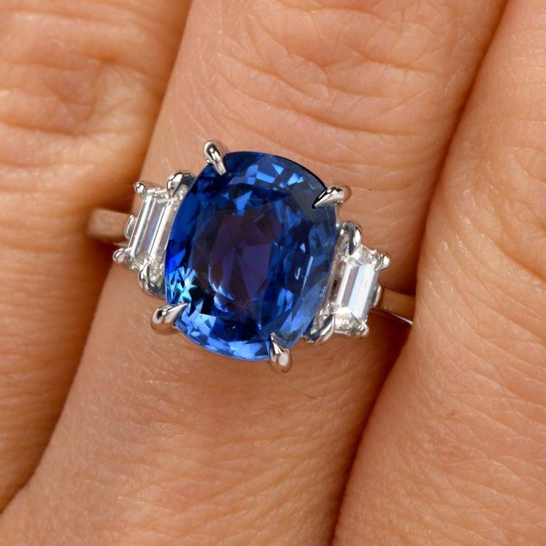 Women's Dover Jewelry Burma Natural No Heat Cushion Sapphire Diamond Platinum Rings For Sale