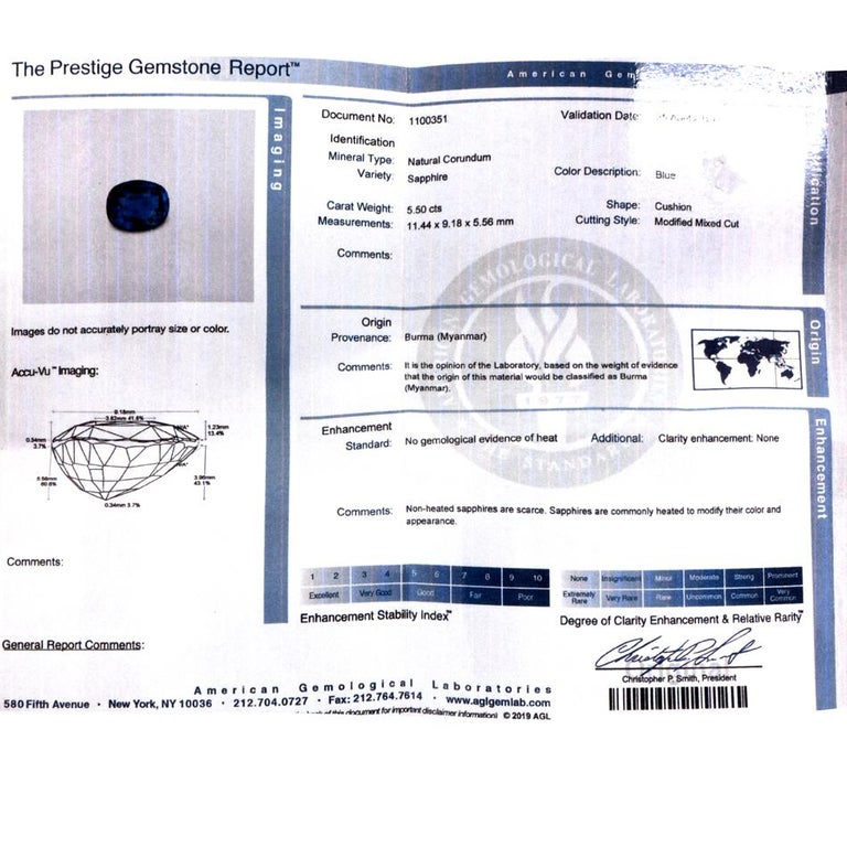 Dover Jewelry Burma Natural No Heat Cushion Sapphire Diamond Platinum Rings For Sale 2