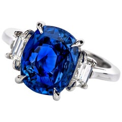 Dover Jewelry Burma Natural No Heat Cushion Sapphire Diamond Platinum Rings