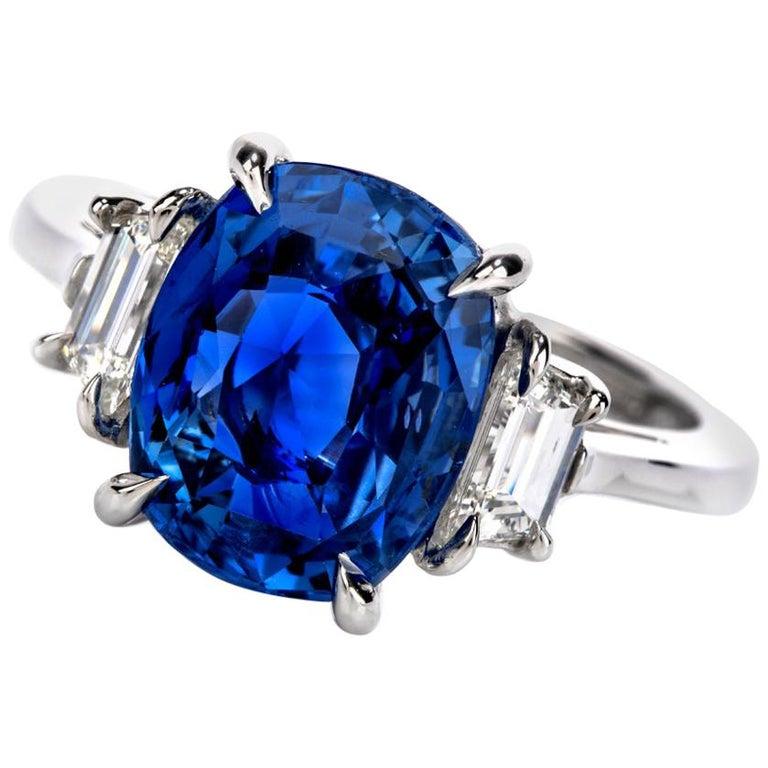 Dover Jewelry Burma Natural No Heat Cushion Sapphire Diamond Platinum Rings For Sale
