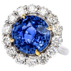 Dover Jewelry Ceylon Natural No Heat Sapphire Diamond 7.14 Carat 18K Gold Ring
