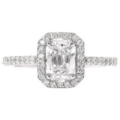Dover Jewelry Cushion D-VS2 GIA Diamond Halo Platinum Engagement Ring