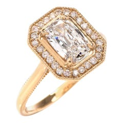 Dover Jewelry Cushion GIA Diamond Halo 18 Karat Engagement Ring