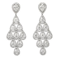 Dover Jewelry Diamond 18 Karat Gold Pear Halo Drop Chandelier Earrings