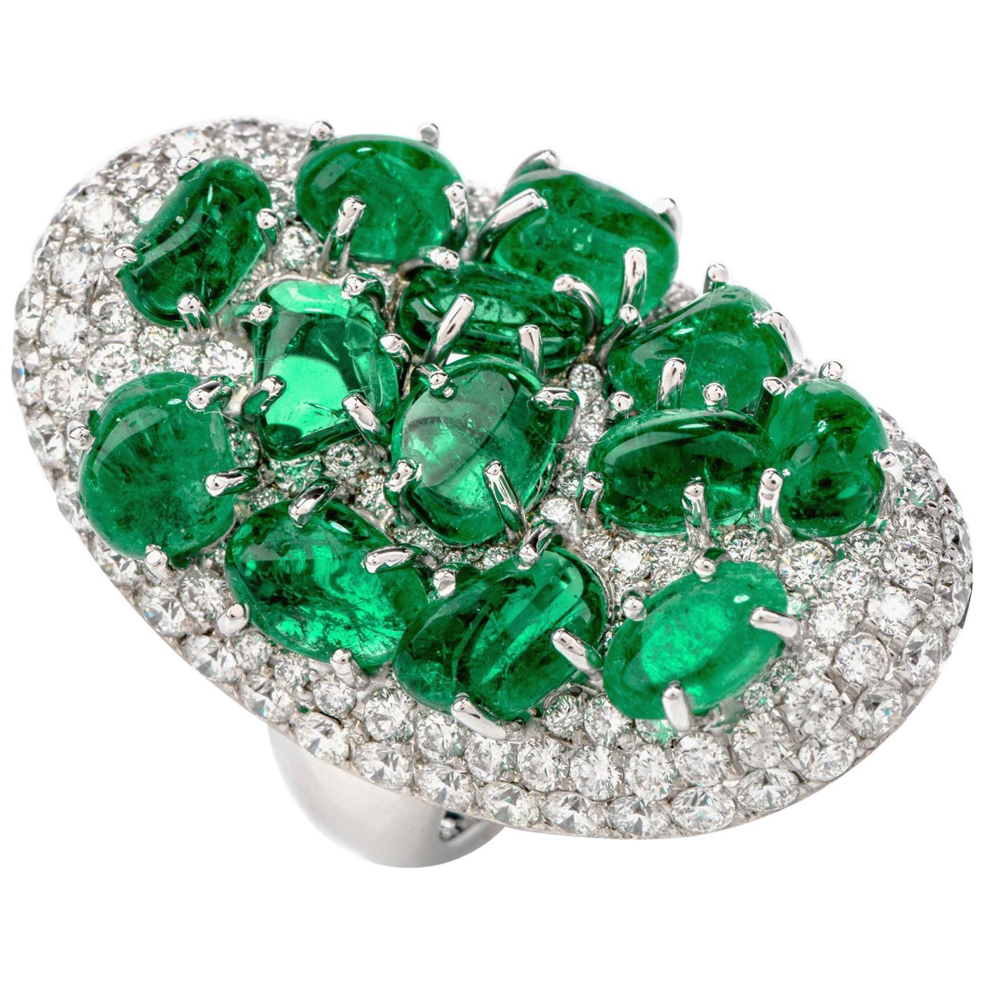 Diamond Colombian Emerald Platinum Cabochon Cluster Ring