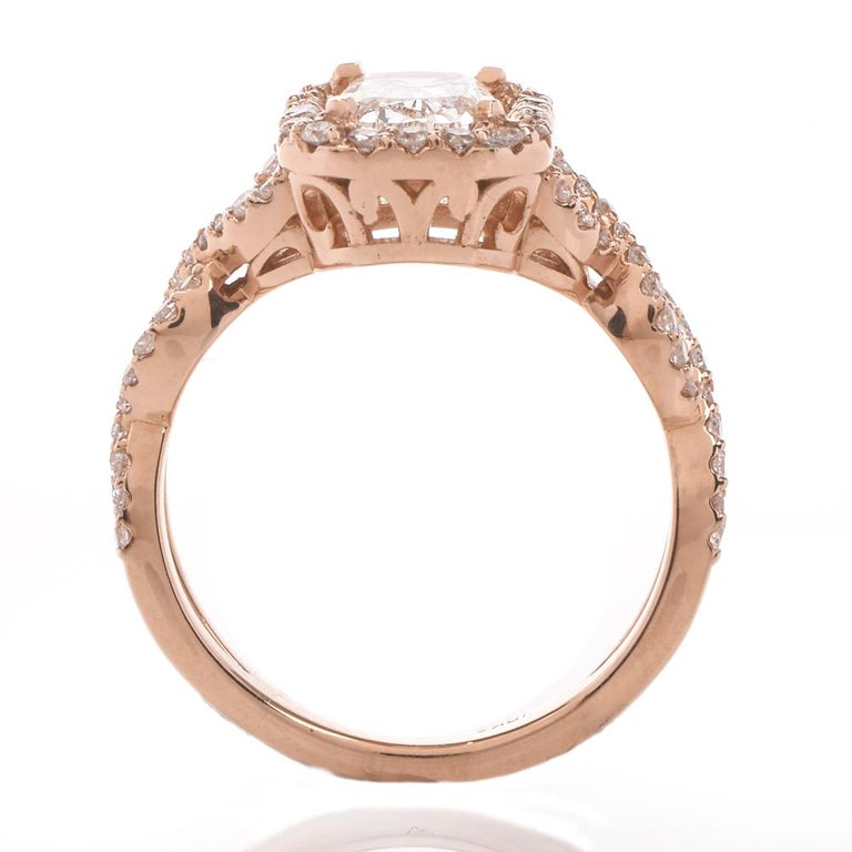 Diamond GIA D-VS1Twisted 18K Gold Halo Cushion Engagement Ring For Sale 1