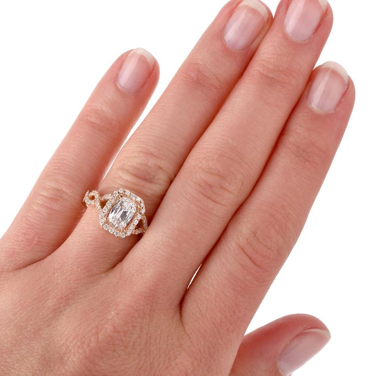 Art Deco Diamond GIA D-VS1Twisted 18K Gold Halo Cushion Engagement Ring For Sale
