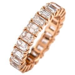 Dover Jewelry Emerald Cut Diamond Eternity Band Ring 18 Karat Rose Gold
