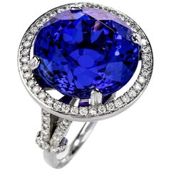 Dover Jewelry GIA 21.16 Carat Tanzanite Platinum Diamond Cocktail Ring