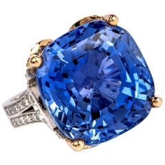 GIA 33.34 Carat No Heat Sapphire Ceylon Diamond Platinum 18K Ring