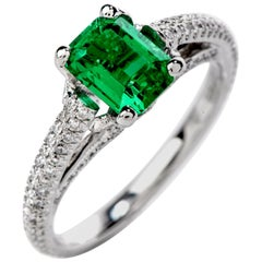 Dover Jewelry GIA Colombian Emerald Platinum Elegant Ring