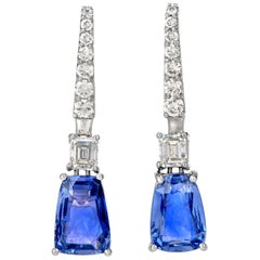 GIA Diamond 8.27ct No Heat Ceylon Sapphire Platinum Drop Earrings