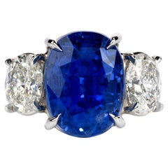Dover Jewelry GIA No Heat Ceylon 14.23 Carat Sapphire and Diamond Platinum Ring