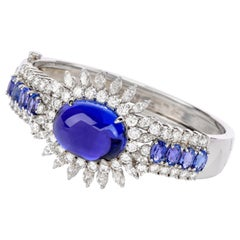 Dover Jewelry GIA Tanzanite Diamond 18K Gold 32.23 Carat Oval Cabochon Bangle