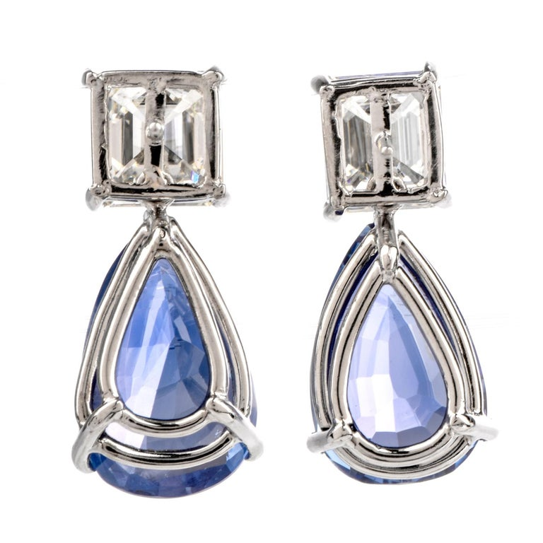 Natural GIA Blue Sapphire Diamond Pear Drop Platinum Earrings For Sale 2