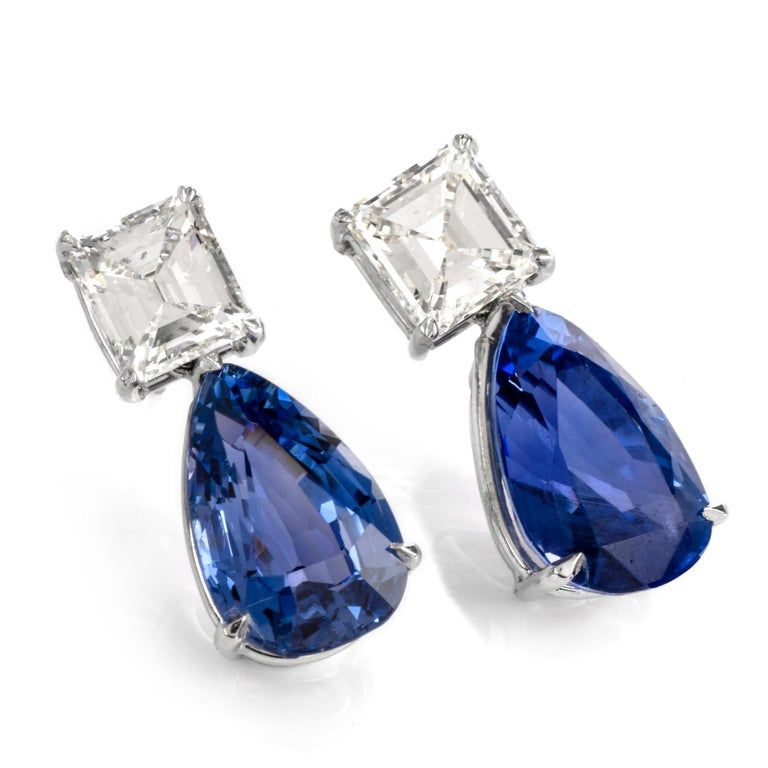 Natural GIA Blue Sapphire Diamond Pear Drop Platinum Earrings For Sale 3