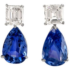 Natural GIA Blue Sapphire Diamond Pear Drop Platinum Earrings