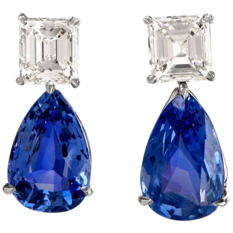 Natural GIA Blue Sapphire Diamond Pear Drop Platinum Earrings For Sale