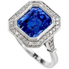 Dover Jewelry No Heat Ceylon GIA Sapphire Step Cut Diamond Halo Platinum Ring
