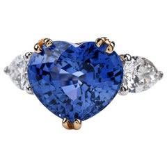 GIA 12.58 carats Ceylon Heart Sapphire Diamond Three-Stone Ring