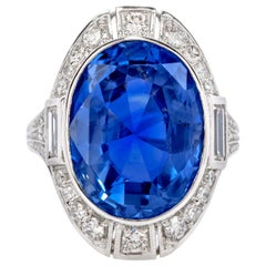 Natural No-Heat Sri Lanka Ceylon Sapphire Diamond Platinum Cocktail Ring