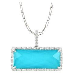 Doves 18 Karat Gold Bar Rectangle Necklace w/ White Topaz, Turquoise & Diamonds