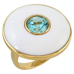 Doves 18 Karat Gold Cocktail Ring with Round Sky Blue Topaz and White Agate