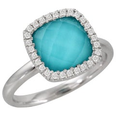 Doves 18 Karat Gold Cushion Fashion Ring with White Topaz Turquoise and Diamonds