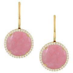 Doves 18 Karat Gold Dangle Earrings with Cabochon Round Pink Opal and Diamonds