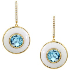 Doves 18 Karat Gold Drop Earrings with Sky Blue Topaz, White Agate, and Diamonds