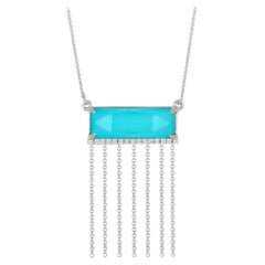 Doves 18 Karat Gold Fringe Chain Necklace with White Topaz, Turquoise & Diamonds