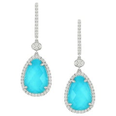 Doves 18 Karat Gold Pear Shape Earrings with White Topaz, Turquoise and Diamonds