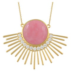 Doves 18 Karat Matte Gold Necklace with Cabochon Pink Opal and Diamonds