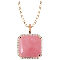 Doves 18 Karat Rose Gold Pendant Necklace with Cabochon Pink Opal and Diamonds