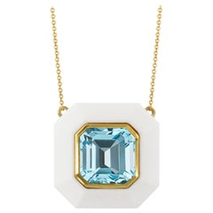 Doves 18 Karat Yellow Gold Layering Necklace with Sky Blue Topaz and White Agate