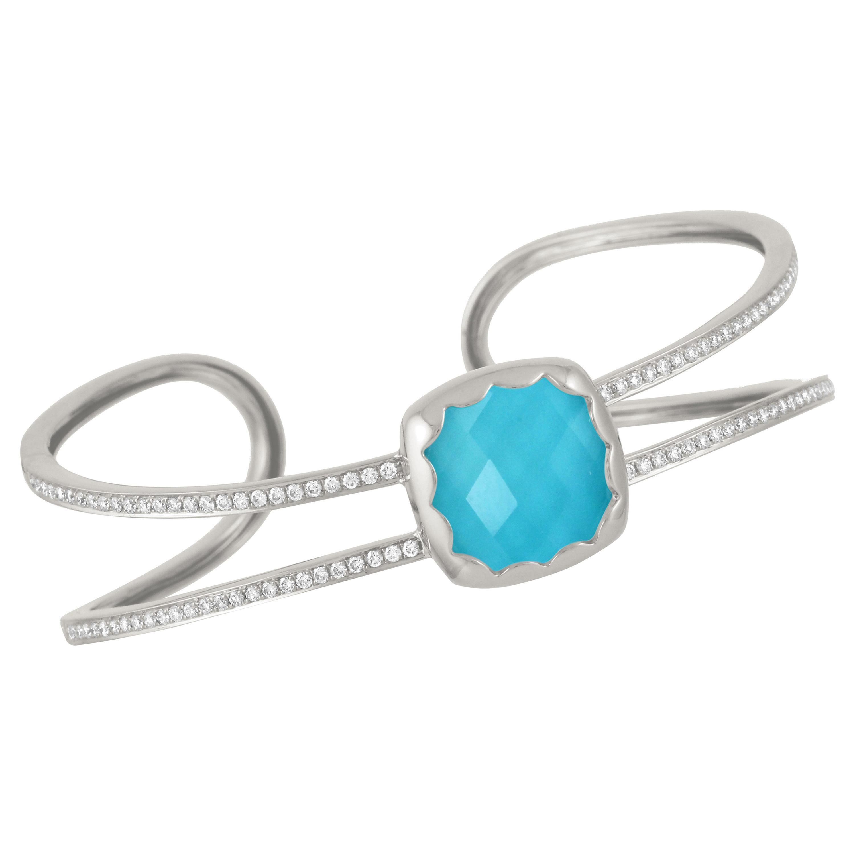 Doves 18K White Gold Cuff Bangle Bracelet with White Topaz, Turquoise & Diamonds