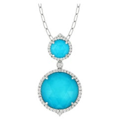 Doves 18K White Gold Round Doublet Necklace w/ White Topaz, Turquoise & Diamonds