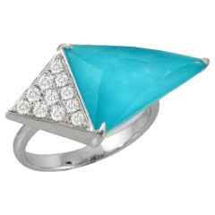 Doves 18K White Gold Triangle Geometric Ring w/White Topaz, Turquoise & Diamonds