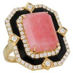 Doves 18K Yellow Gold Art Deco Cocktail Ring w/ Pink Opal, Black Onyx & Diamonds