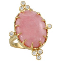 Doves 18K Yellow Gold Cocktail Ring w/ Oval Cabochon Pink Opal & Bezel Diamonds
