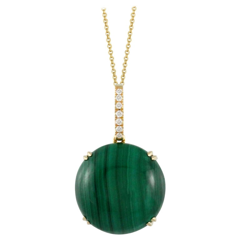 Doves 18K Yellow Gold Pendant Necklace w/ Round Cabochon Malachite and Diamonds For Sale