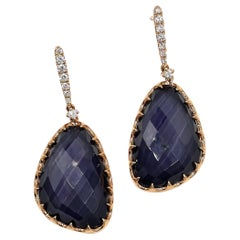 Doves Rose Gold Drop Earrings with Amethyst Over Hematite